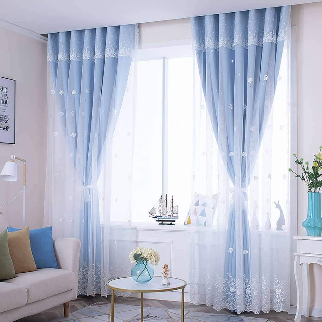 TTJJ store 2021 spring and summer new Double Layer Voile Curtain Opaque Thermal with In Grommets