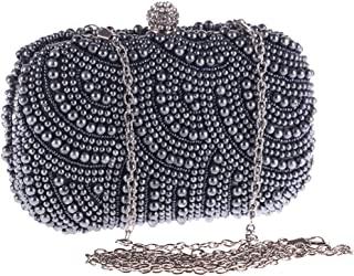 Runhuayou Women's Exquisite Fashion Wedding Dinner Eve Bag with Rhinestone Crystal and Pearl Bags Joker Plume One Shoulder Chain Clutches Bags Suitable for Females of All Ages on Any Occasions
