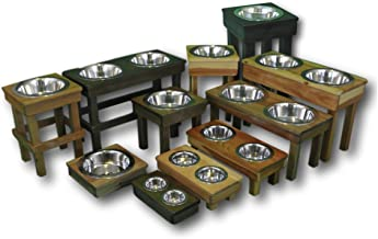 Premium Raised Dog Bowls, Pet Safe/Ultra Durable Solid Wood Finish! Cat dish & Dog Bowl Stands with Stainless Steel Elevated Bowls - 6 sizes XL to XS, Eco-Friendly, Non-Toxic- Handcrafted in the USA