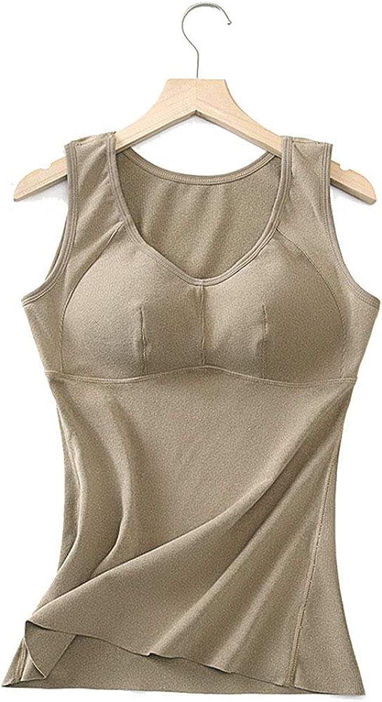 VELWINGS Women's Long Thermal Underwear Fleece Tank Top Lined Winter Base Layering Vest