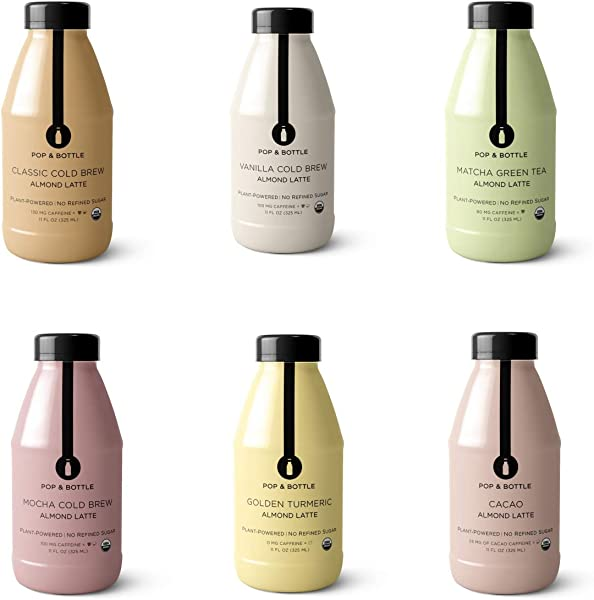 Pop Bottle Lattes VARIETY 6 Pack 11 Oz Each Organic Dairy Free No Refined Sugar Fair Trade Plant Based Superfood Enriched Paleo