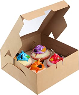 X-Chef Cupcake Boxes 20 Packs, Food Grade Kraft Pastry Bakery Boxes with Display Windows and Inserts to Fit 4 Cupcakes Muffins or Pastries, 7