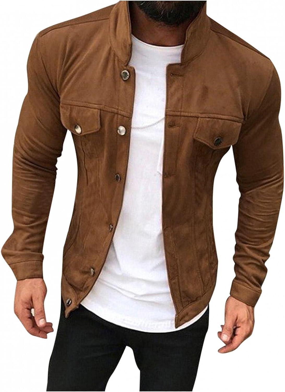 Burband Mens Faux Suede Pigskin Trucker Jackets Big and Tall Sheepskin Leather Shearling Walking Coats Corduroy Jackets
