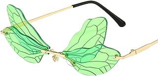 ZEZKT Lunettes de Soleil UV400 Protection Personnalité Ailes de Libellule S'habiller Lunettes Couleur de Fête Cadeaux Mari...