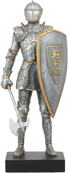 Ebros Elite Medieval Axeman Knight Statue 13 Tall Royal Suit Of Armor Warrior With Large Axe And Three Lions Heraldry Shield Figurine