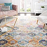Safavieh Madison Collection MAD611B Bohemian Chic Vintage Distressed Area Rug, 5' 1' x 7' 6', Cream/Multi