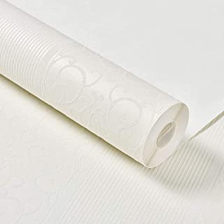 无纺布墙纸,竖条纹 自粘壁纸,适用卧室 客厅 家居场所,0.53*3m 米白色