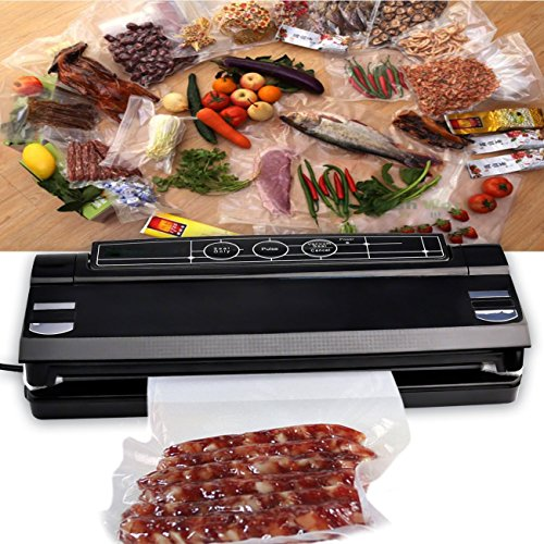 PowerDoF Automatic Food Packing Machine with Starter Kit and Vacuum Sealers Bags, Small, Black
