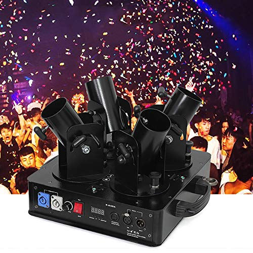 MáQuina de Confeti EléCtrica Cuatro Cabezales,DJ Lanzador De Confeti Profesional, Boda Etapa Disparador De Confeti,Para DJ Disco Boda Fiestas,Black