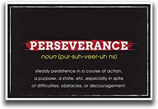 JSC521 Definition of Perseverance Dictionary Style Poster Red Yellow | 18-Inches by 12-Inches | Motivational Inspirational Educational | Premium 100lb Gloss Poster Paper