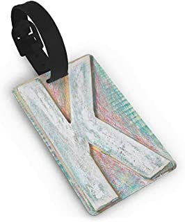 Leather luggage tag,Letter K,Scratched Looking Typographic Element Uppercase K Printing Theme Rough Vintage,Women's The Getaway Luggage Tag Multicolor