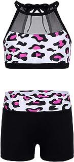 TiaoBug 2PCS Kids Girls Dance Outfit Tank Top with Bottoms Set for Activewear Sportwear Gym Dancewear