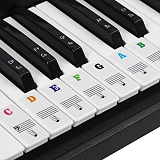 BUZIFU Piano Sticker Labels of Piano and Electronic Keyboards of 37/49/54/61/88 Keys, 52 Keys White and 36 Black, Transpar...