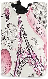 LDIYEU Tour De Paris Rose Grand Panier à Linge Pliage Étanche Rangement Corbeille à Linge avec Poignées pour Maison Buanderie