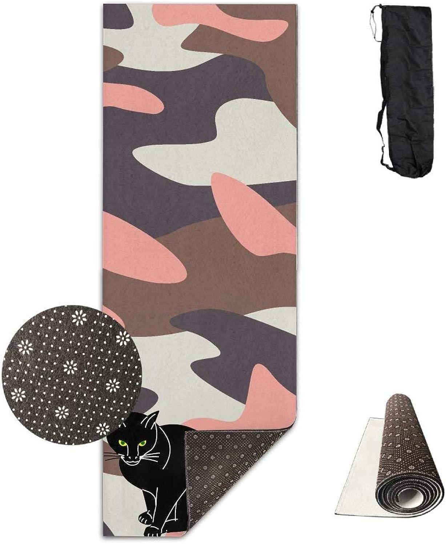 Black Cat Yoga Mat Towel for Bikram Hot Yoga, Yoga and Pilates, Paddle Board Yoga, Sports, Exercise, Fitness Towel