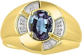 خاتم RYLOS للجنسين مع أحجار كريمة بيضاوية الشكل وألماس لامع أصلي 14 قيراط مطلي بالذهب الأصفر عيار 14 قيراط فضة .925-8 × 6 ...