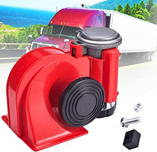 MKING Compact Mini Air Horn Red -Powerful Dual-Tone Compact Electric Air Horn for Motorcycles/Cars/Boats/ATV Red 12V