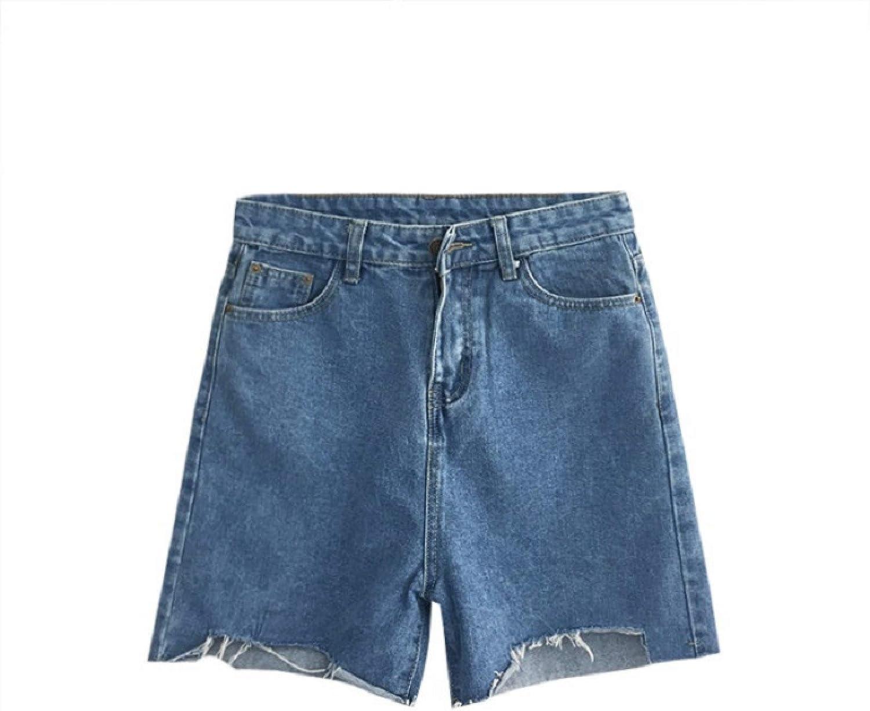 Katenyl Ladies Denim Shorts High Waist Loose Solid Color Endurance Summer Irregular Raw