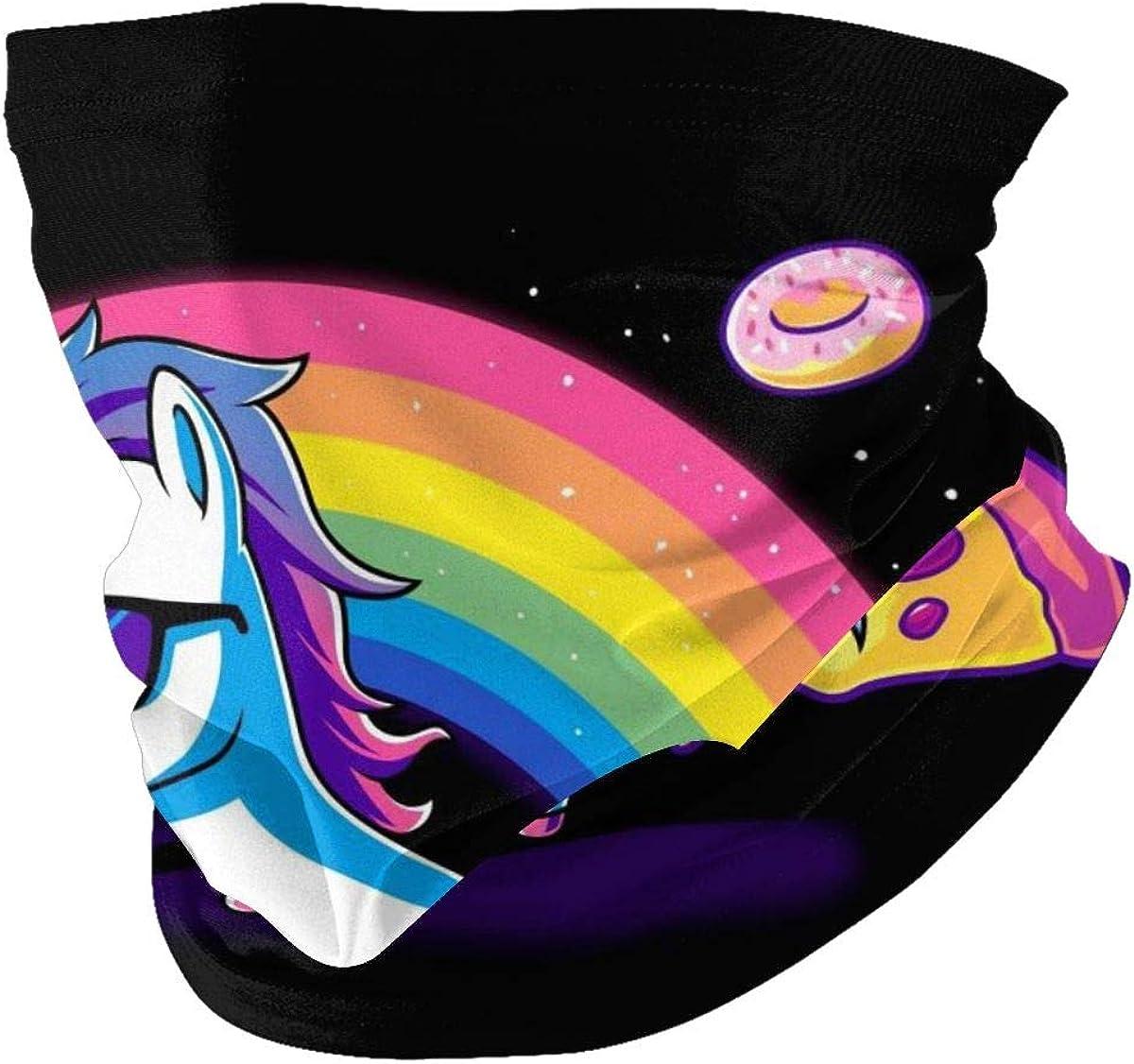Pizza Donut Funny Cute Nerdy Unicorn Unisex Multi-Purpose Bandana Scarf Neck Gaiter Headwear Headwrap for Sun Dust Protection Black