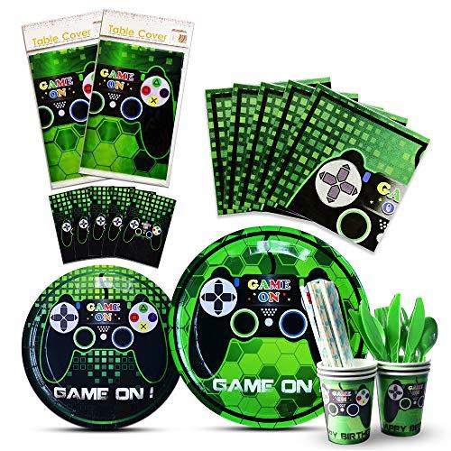 WERNNSAI Juego Tema Decoración de Fiesta - Set de Party Cubiertos para Jugadores Game Player, Incluye Bolsa de Cubiertos Mantel Platos Tazas Servilletas Pajitas Utensilios para 16 Personas 146 PCS