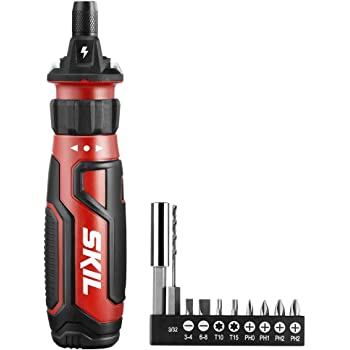 SKIL Rechargeable 4V Cordless Screwdriver with Circuit Sensor Technology, Includes 9pcs Bit, 1pc Bit Holder, USB Charging Cable - SD561201