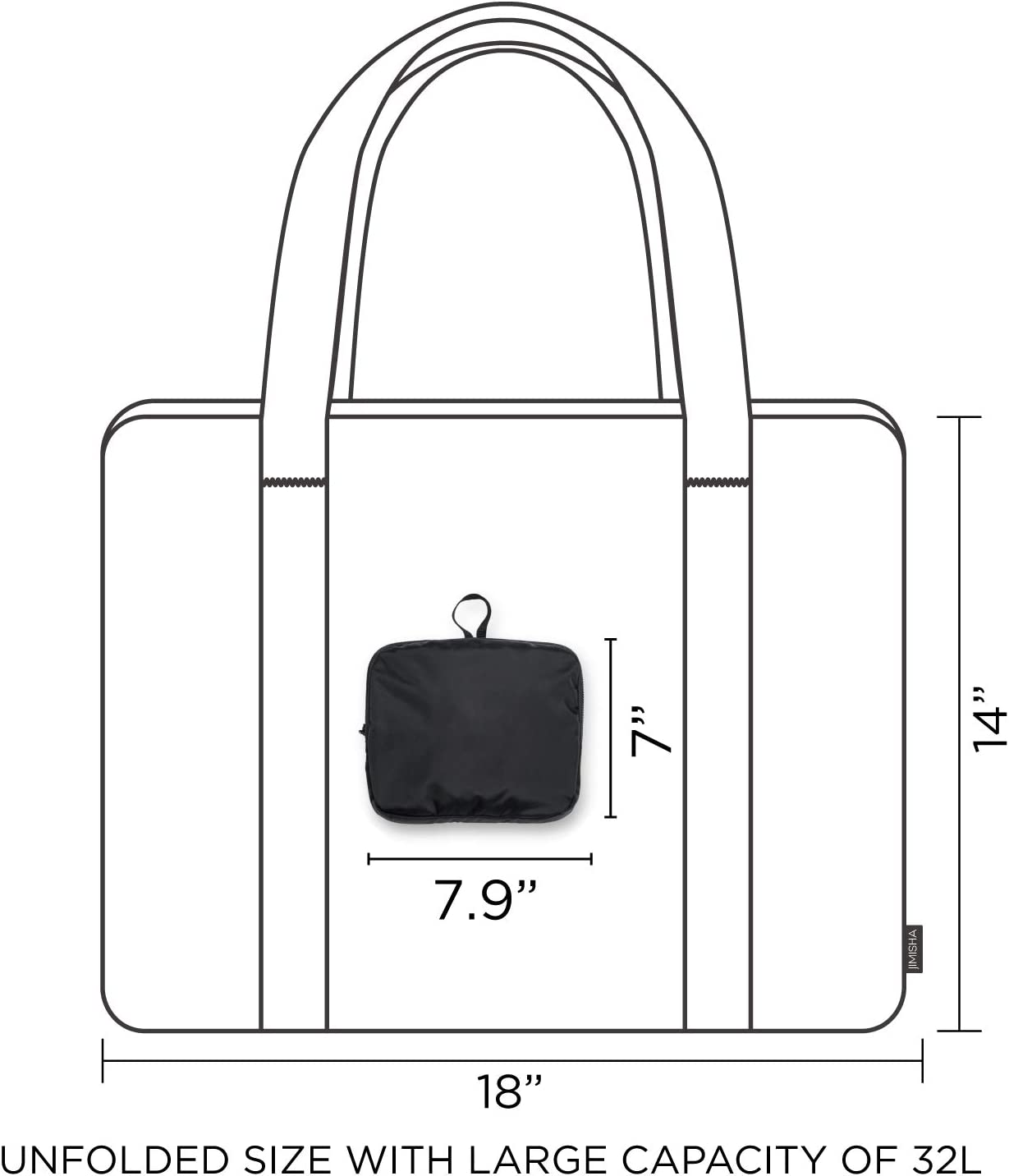 Blackwhite JIMISHA Travel Duffel Bag Lightweight Luggage Sports Gym Bag Water Resistant Nylon 32L Foldable Travel Bag