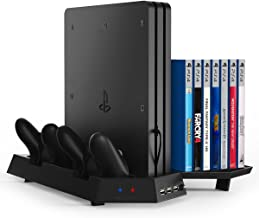 Kootek Vertical Stand for PS4 Pro with Game Storage and Cooling Fan Dual Controller Charger Station for Sony Playstation 4 Pro Dualshock 4 Controller (Not for Slim/Regular PS4)