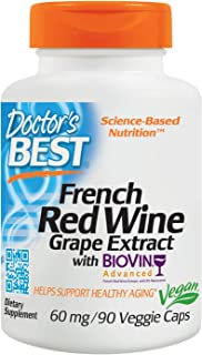 French Red Wine Grape Extract for Healthy Aging Vegan 60 MG (90 Vegetarian Capsules)
