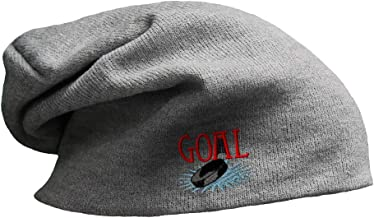 Custom Slouchy Beanie Goal Hockey Embroidery Skull Cap Hats for Men & Women
