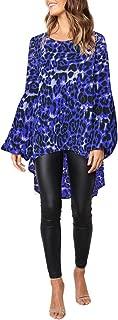 Henley Shirts Dress Iuhan Fashion Women Long Puff Sleeve Leopard Sweatshirt Top Blouse