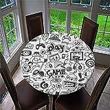 Chickwin Mantel Antimanchas Redondo, Mantel de Mesa Impermeable Diseño de Borde Elástico con Estampado 3D Creativo Mantel Redondo para Comedor, Cocina y Picnic (Elementos Juego,120cm)