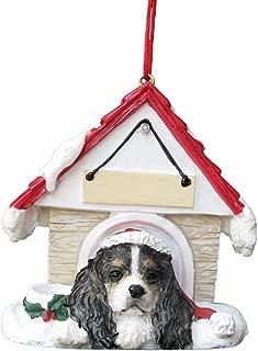 Cavalier King Charles Spaniel Black  Doghouse Christmas Ornament
