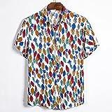 Camisa Hawaiana para Hombre - Funky Beach Shirt- Camisa De Verano De Manga Corta con Botones En 3D con Estampado De Hojas De Plantas Camisas con Cuello Vuelto Informal para Fiestas De Vacaci