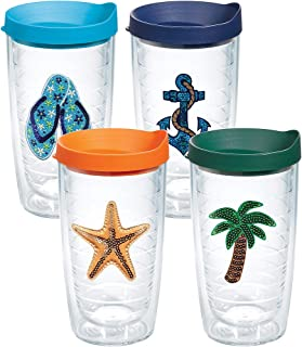 Tervis 1308638 Sequins Beach Life Insulated Tumbler with Emblem and Assorted Lid 4 Pack - Boxed, 16oz, Clear