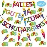 Faburo 55Pcs Schulanfang Einschulung Deko Set Zuckertüten Girlande Buchstaben ABC 123 Tisch Konfetti Dekoration zur Schuleinführung