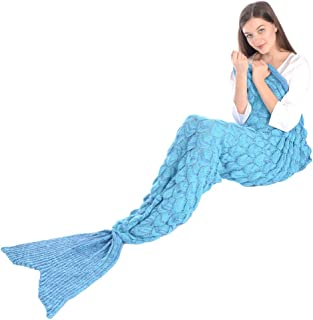 "Girls Knitted Crochet Wool Mermaid Tail Blanket With Fish Scale, Soft Warm Living Room Sofa Quilt Sleeping Bag All Seasons in 4 Colors 80.7""x 35.4"" (Blue)"