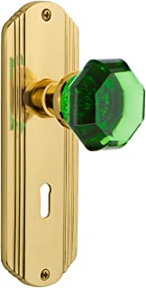 Nostalgic Warehouse 725444 Deco Plate with Keyhole Privacy Waldorf Emerald Door Knob in Unlaquered Brass, 2.375