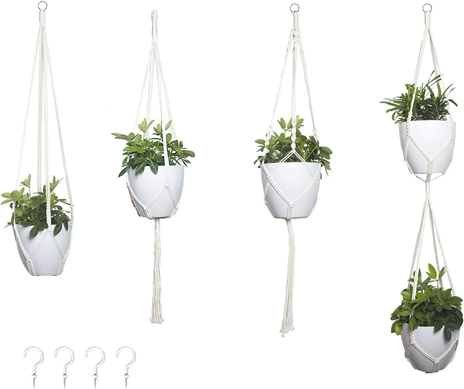 Oligate Macrame Plant Hangers 4pcs B Indoor Planter famous Wall Our shop OFFers the best service Hanging
