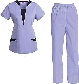 Sanforizzato Pantaloni Medicale per Medico Manica Corta Vestito Medicale YiZYiF Completo Divisa Ospetalliera Unisex Lavoro Infermiere//a Sanitaria Clinica Casacca Scollo a V