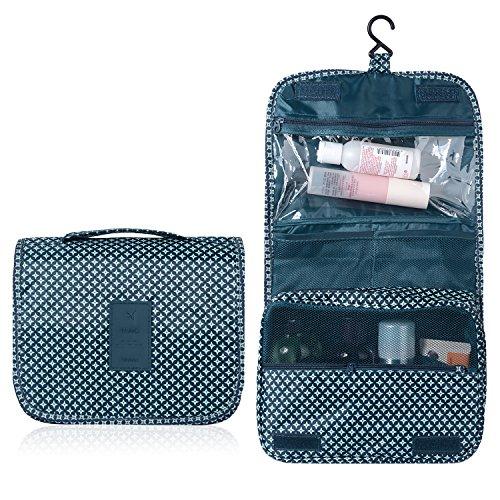 Emwel bolsa de cosméticos bolsa de aseo para hombres y mujeres de viaje camping cosas necesarias cosméticos estuche de maquillaje bolso (Azul oscuro)