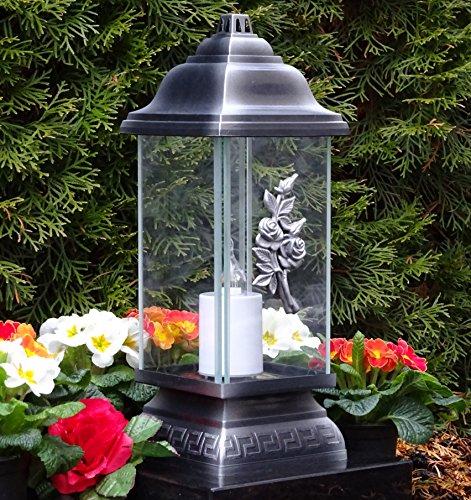 ♥ LED Grablampe Rosen Ornament Silber 34,0cm incl. LED Grablicht Grablaterne Grabschmuck Grableuchte Laterne Kerze Lampe Licht