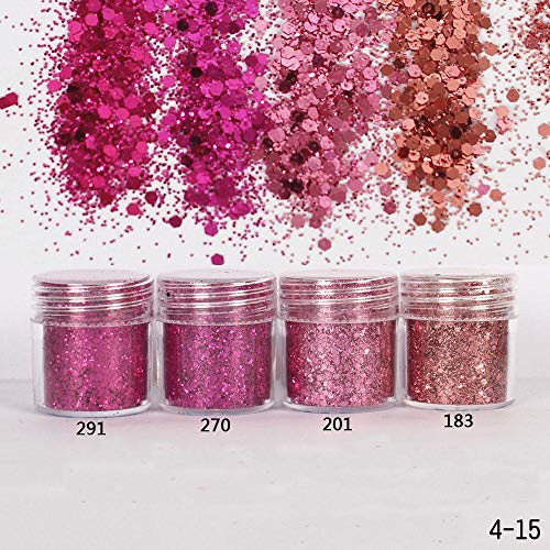 Nail Art 1 Pot/Boîte 10 ml Rose Rouge Couleurs Mélanger Nail Glitter Poudre Paillettes Poudre pour Nail Art Décoration Sequin Mix Confetti Nail, 291 sac
