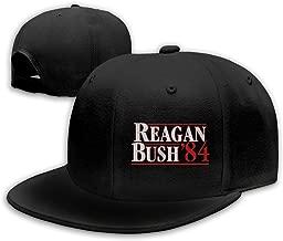 VISIONAA Reagan Bush 84 Black Baseball Hats Unisex Adjustable Flat Bill Visor Cap