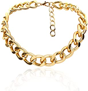 Daimay Women's Alloy Choker Necklace Heavy Cuban Chunky Chain Punk Gothic Hip Hop Metal Necklaces - Gold - S Size