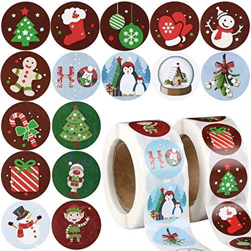 1000pcs 2,5cm Pegatinas Navidad Papel Etiquetas Adhesivas Redondas Decoración Cajas Bolsas Regalos Sobres Fiesta Navidad