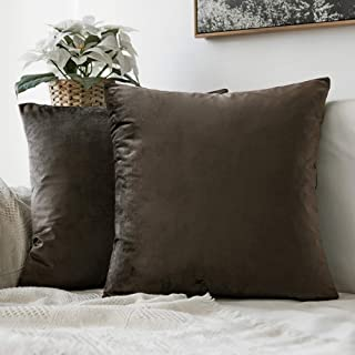 MIULEE Pack of 2 Velvet Pillow Covers Decorative Square Pillowcase Soft Solid Dark Taupe Cushion Case for Sofa Bedroom Car 22 x 22 Inch 55 x 55 cm