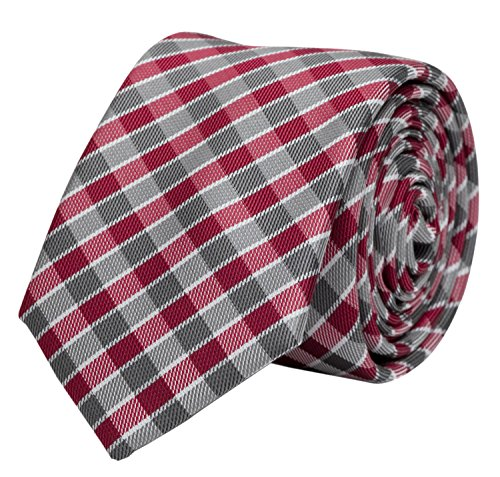Schmale Krawatte von Fabio Farini kariert rot grau