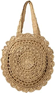 Women's Shoulder Woven Bag New Fashion Paper Rope Crochet Straw Bag Ladies Personality Beach Bag(FM),B