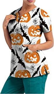 YOYHX Women Working Uniform T-Shirt Womens Halloween Cute Printed Scrub_Top Short Sleeve V-Neck Tops with Pockets