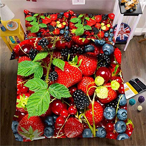 MENGBB Kids 3D Quilt Cover Beautiful painted fruit food 230x220cm Total 4 Size, give away pillowcase, Duvet Cover with 2 Pillowcases 3D Printed Bedding Set with Zipper Closure Unique Design Anti-alle